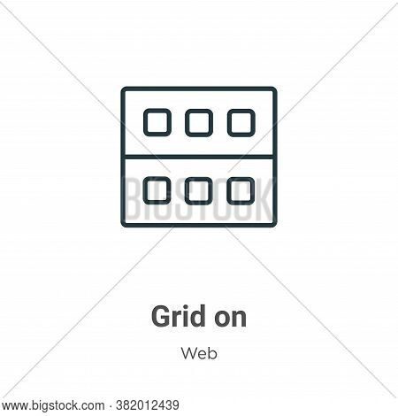 Grid on icon isolated on white background from web collection. Grid on icon trendy and modern Grid o