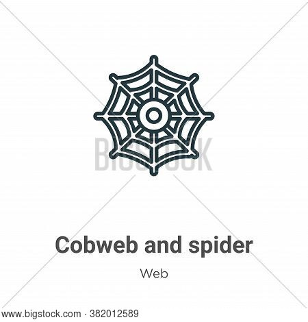 Cobweb and spider icon isolated on white background from web collection. Cobweb and spider icon tren