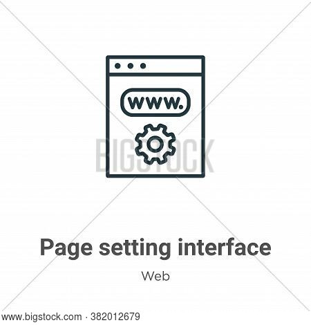 Page setting interface symbol icon isolated on white background from web collection. Page setting in