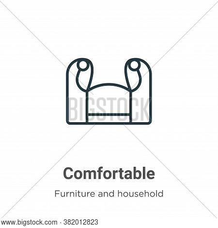 Comfortable icon isolated on white background from furniture and household collection. Comfortable i