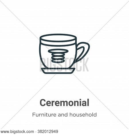 Ceremonial icon isolated on white background from furniture and household collection. Ceremonial ico