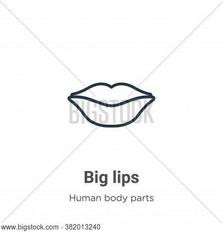 Big lips icon isolated on white background from human body parts collection. Big lips icon trendy an