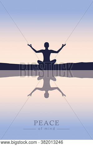 Peace Of Mind Mediating Person By The Lake Vector Illustration Eps10