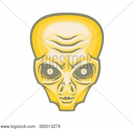 Alien Head Isolated On White Background. Vector Illustration For Use As Print, Poster, Sticker, Logo