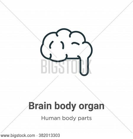 Brain body organ icon isolated on white background from human body parts collection. Brain body orga