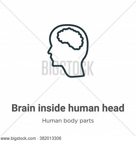 Brain inside human head icon isolated on white background from human body parts collection. Brain in