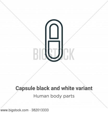 Capsule black and white variant icon isolated on white background from human body parts collection.