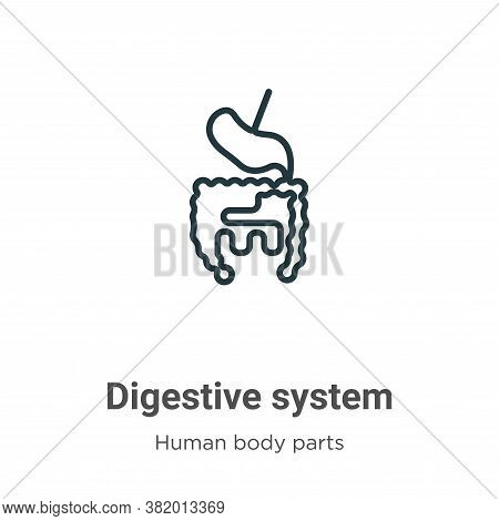 Digestive system icon isolated on white background from human body parts collection. Digestive syste