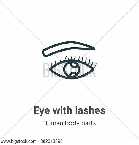 Eye with lashes icon isolated on white background from human body parts collection. Eye with lashes