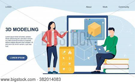 Webpage Template For 3d Modelling Showing A Man And Woman Working On An Online Digital Interface, Co