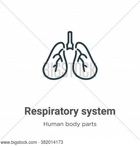 Respiratory system icon isolated on white background from human body parts collection. Respiratory s
