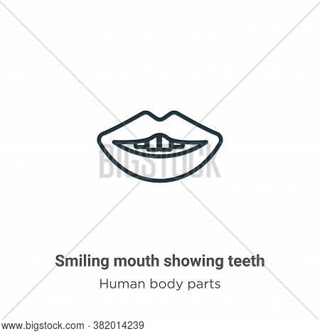 Smiling mouth showing teeth icon isolated on white background from human body parts collection. Smil
