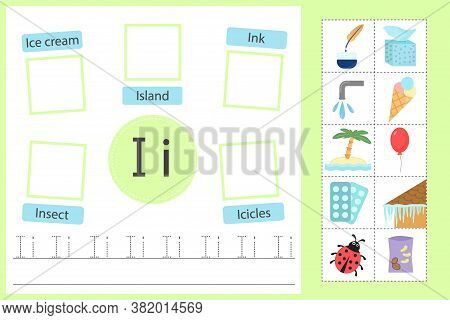 Alphabet Tracing Worksheet For Preschool And Kindergarten. Writing Practice Letter I. Exercises With