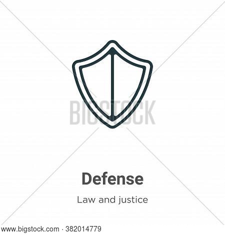 Defense icon isolated on white background from law and justice collection. Defense icon trendy and m