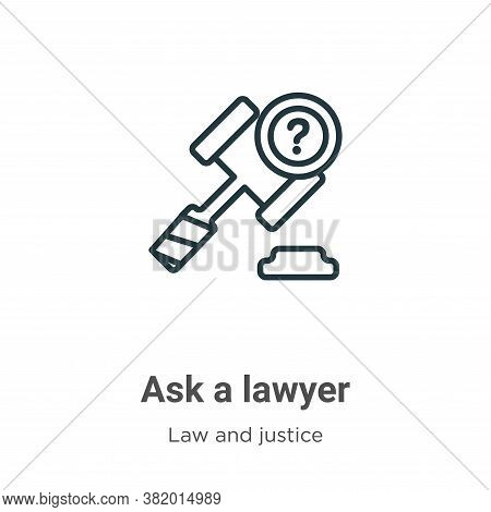 Ask a lawyer icon isolated on white background from law and justice collection. Ask a lawyer icon tr