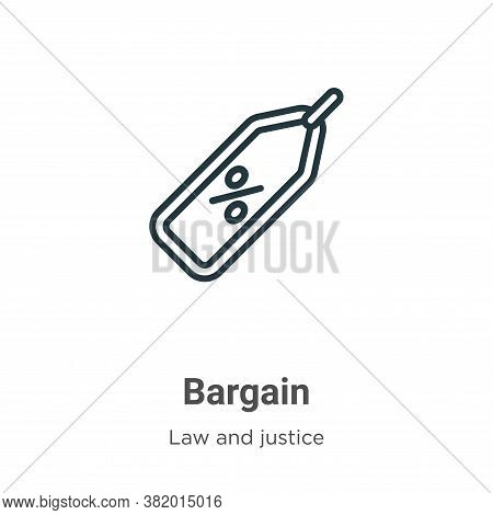 Bargain icon isolated on white background from law and justice collection. Bargain icon trendy and m