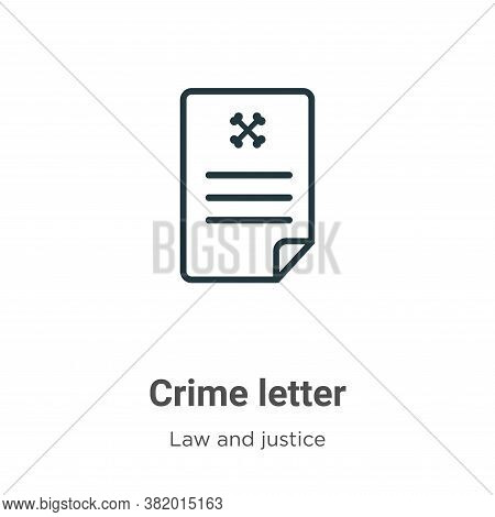 Crime letter icon isolated on white background from law and justice collection. Crime letter icon tr