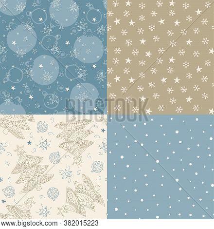 Christmas Tree, Balls, Stars Hand Drawn Seamless Patterns. Blue Beige Pastel Colors. Set Of Patterns
