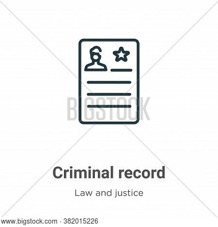 Criminal record icon isolated on white background from law and justice collection. Criminal record i