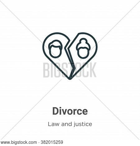 Divorce icon isolated on white background from law and justice collection. Divorce icon trendy and m