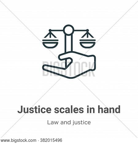 Justice scales in hand icon isolated on white background from law and justice collection. Justice sc