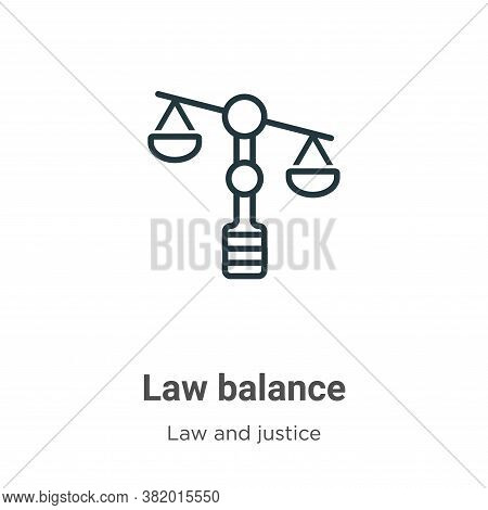 Law balance icon isolated on white background from law and justice collection. Law balance icon tren