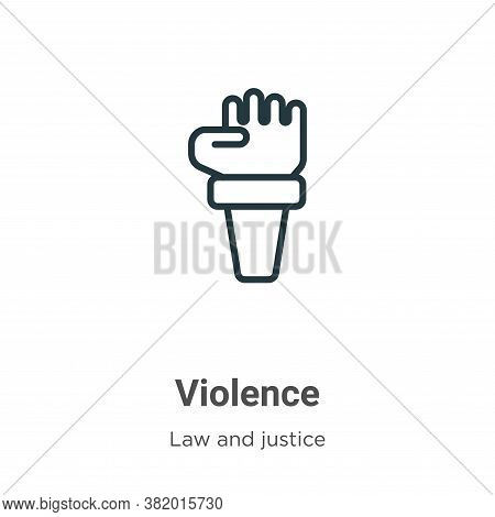 Violence icon isolated on white background from law and justice collection. Violence icon trendy and