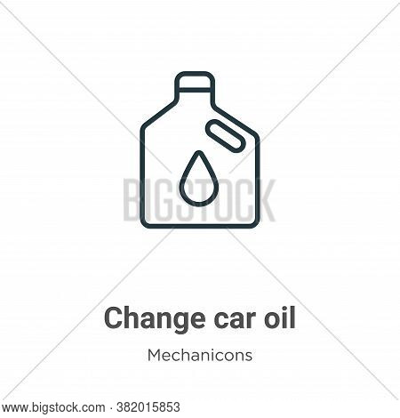 Change car oil icon isolated on white background from mechanicons collection. Change car oil icon tr