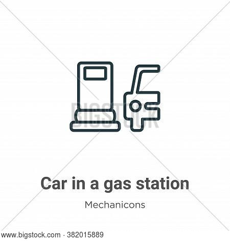 Car in a gas station icon isolated on white background from mechanicons collection. Car in a gas sta