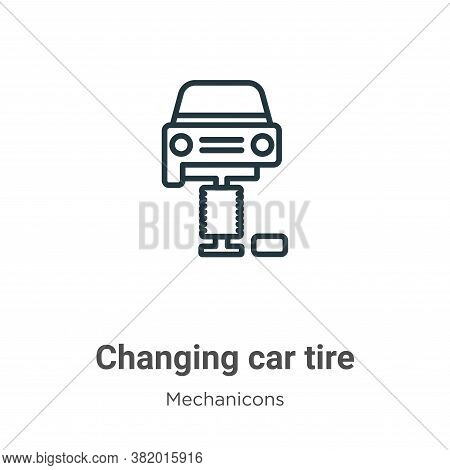 Changing car tire icon isolated on white background from mechanicons collection. Changing car tire i