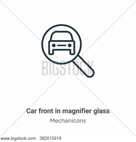 Car front in magnifier glass icon isolated on white background from mechanicons collection. Car fron