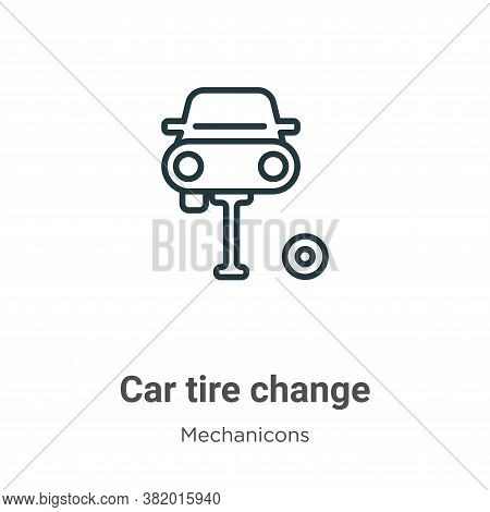 Car tire change icon isolated on white background from mechanicons collection. Car tire change icon