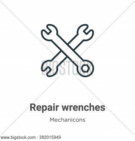 Repair wrenches icon isolated on white background from mechanicons collection. Repair wrenches icon