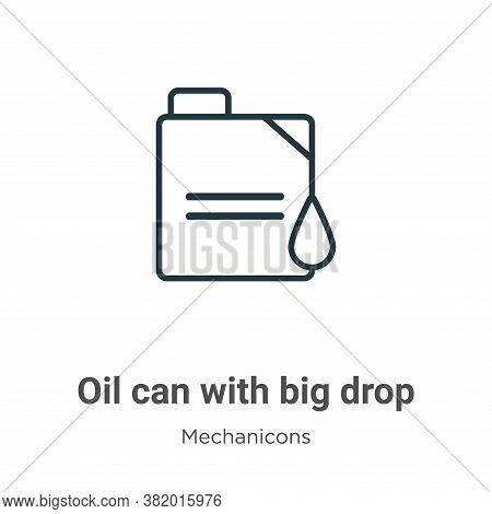 Oil can with big drop icon isolated on white background from mechanicons collection. Oil can with bi