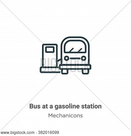 Bus at a gasoline station icon isolated on white background from mechanicons collection. Bus at a ga
