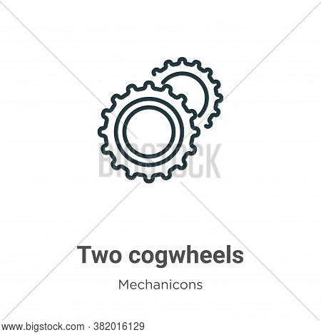 Two cogwheels icon isolated on white background from mechanicons collection. Two cogwheels icon tren