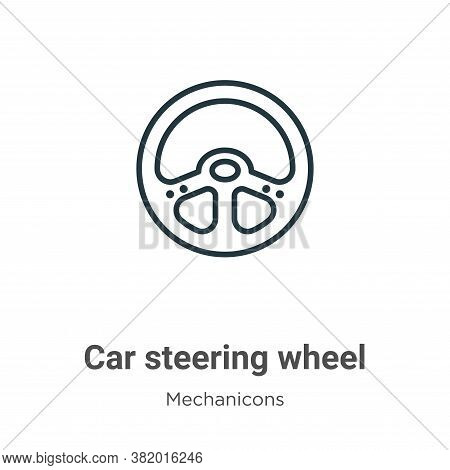 Car steering wheel icon isolated on white background from mechanicons collection. Car steering wheel