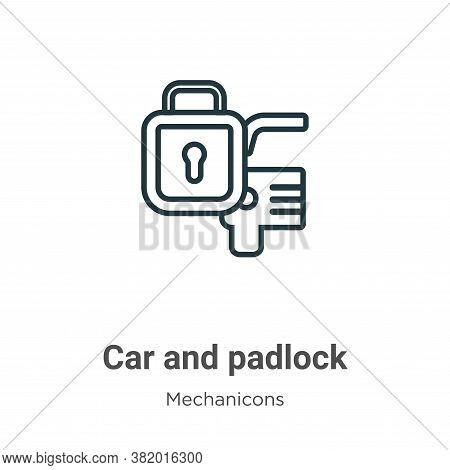 Car and padlock icon isolated on white background from mechanicons collection. Car and padlock icon