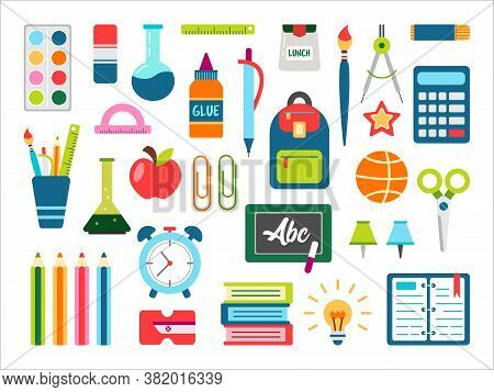 School Stuff Vector Set. Back To School Stationary. Supplies For Office And Education. Equipment For