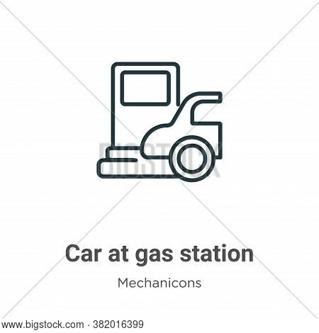 Car at gas station icon isolated on white background from mechanicons collection. Car at gas station