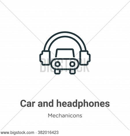 Car and headphones icon isolated on white background from mechanicons collection. Car and headphones