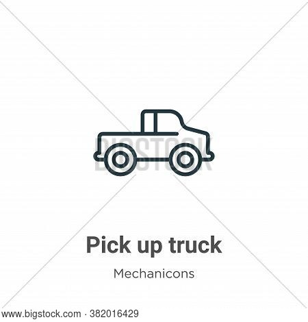 Pick up truck icon isolated on white background from mechanicons collection. Pick up truck icon tren