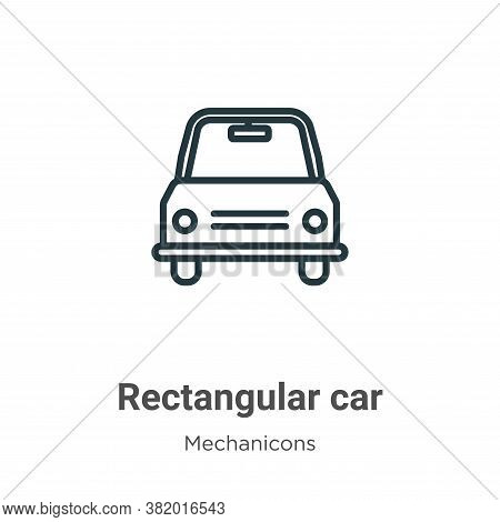 Rectangular car icon isolated on white background from mechanicons collection. Rectangular car icon
