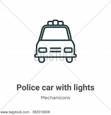 Police car with lights icon isolated on white background from mechanicons collection. Police car wit