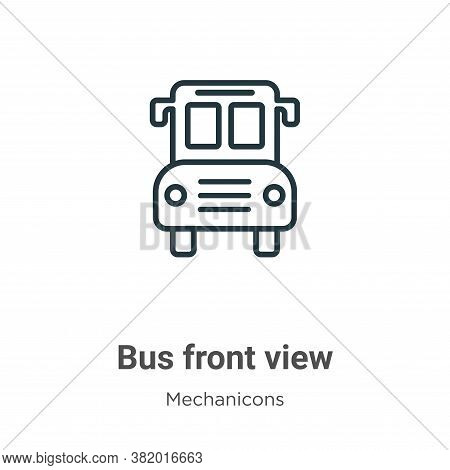 Bus front view icon isolated on white background from mechanicons collection. Bus front view icon tr