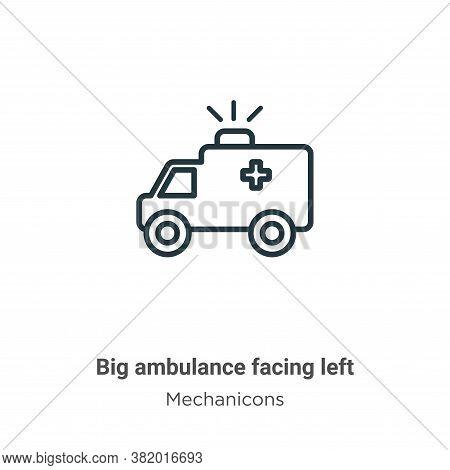 Big ambulance facing left icon isolated on white background from mechanicons collection. Big ambulan