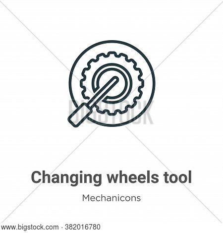 Changing wheels tool icon isolated on white background from mechanicons collection. Changing wheels