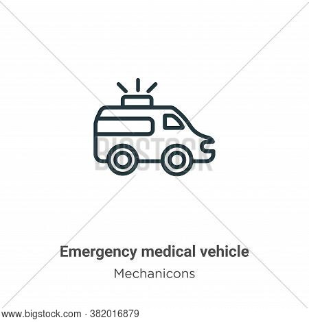 Emergency medical vehicle icon isolated on white background from mechanicons collection. Emergency m