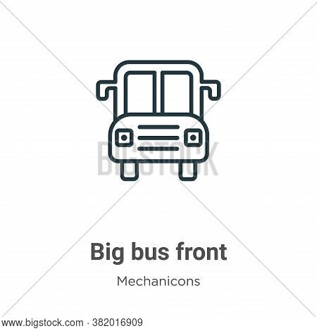 Big bus front icon isolated on white background from mechanicons collection. Big bus front icon tren