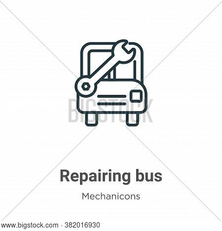 Repairing bus icon isolated on white background from mechanicons collection. Repairing bus icon tren